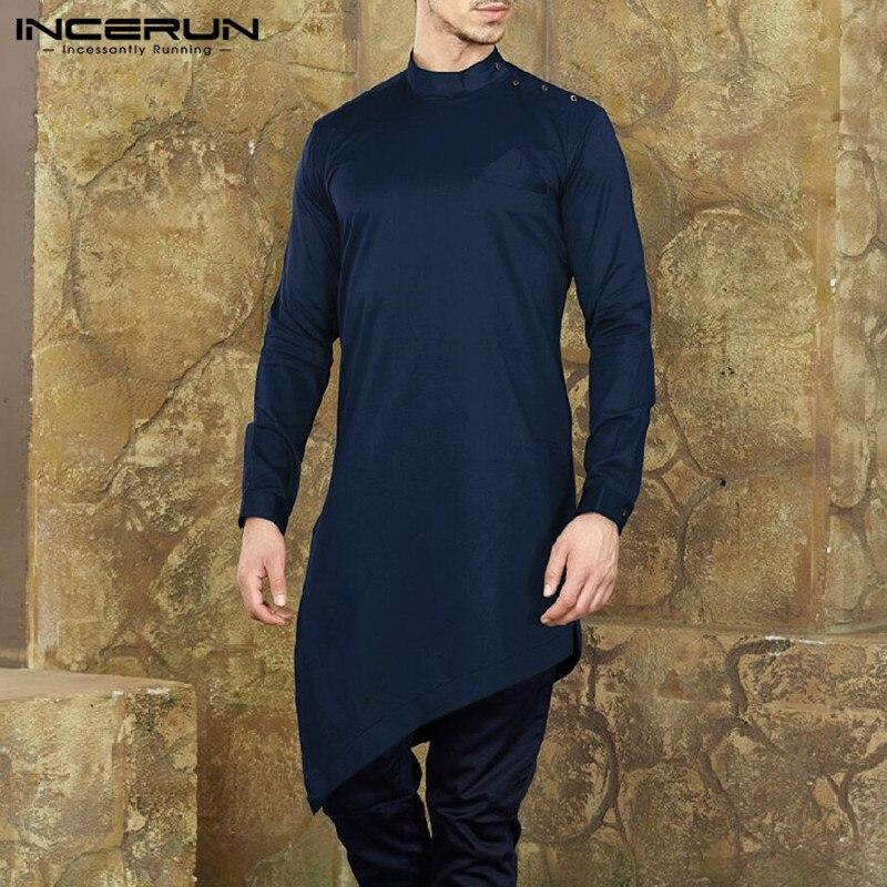 INCERUN Mens Shirt  Suit Long Sleeve Irregular Hem Tops Muslim Islamic Clothes Men Nepal Style Solid Casual Shirts Hombre