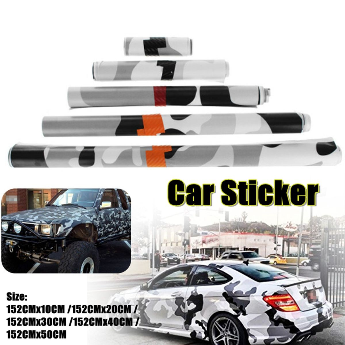 10/20/30/40/50x152cm Black/white Camo Vinyl Film Snow Camouflage Vinyl Sticker Car Camo Wraps Firm In Structure