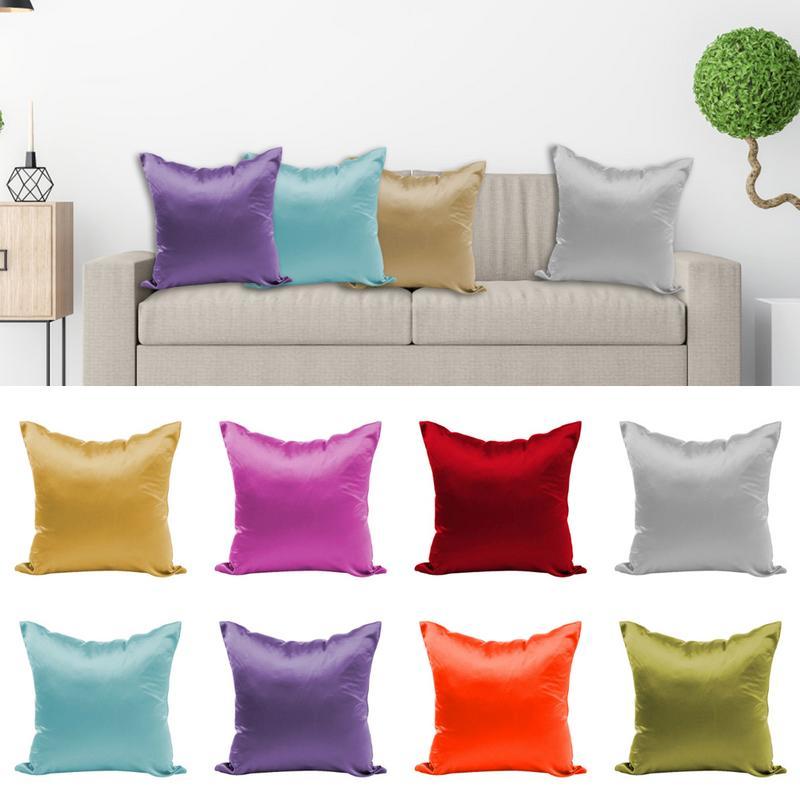 MultiColors Square Throw Pillowcase Silk Satin Cotton Linen Cushion Pillow Cases Cover Home Textile Poszewki Na Poduszki