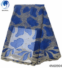 Beautifical royal blue lace fabric african bridal french net cheap wholesales for women dresses 4N609