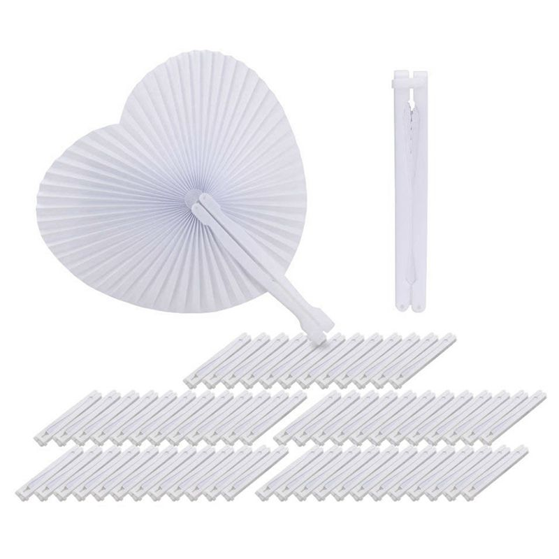 60 pcs Fan White Paper Round Heart Deco Decoration Wedding Party Gift for Guests Anniversary Wedding Bapteme DIY Party(China)