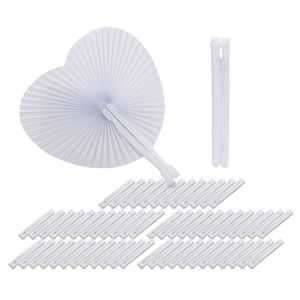 Image 1 - Ventilador de papel blanco redondo, decoración de corazón, regalo de fiesta de boda para invitados, aniversario, boda, fiesta DIY, 60 uds.