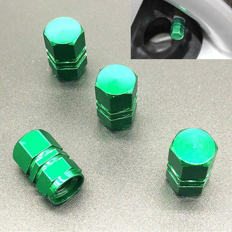 JX-LCLYL 4pcs Universal Aluminum Car Wheel Tire Tyre Valve Air Stem Cap Cover Green