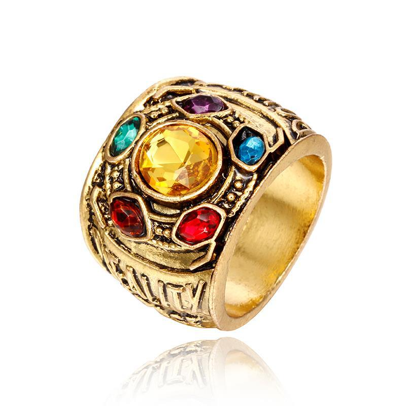 Thanos Infinity Stones Rings Infinity Gauntlet Cosplay Gold Rings Kid Birthday Gift Halloween Christmas New Year Gift All Sizes