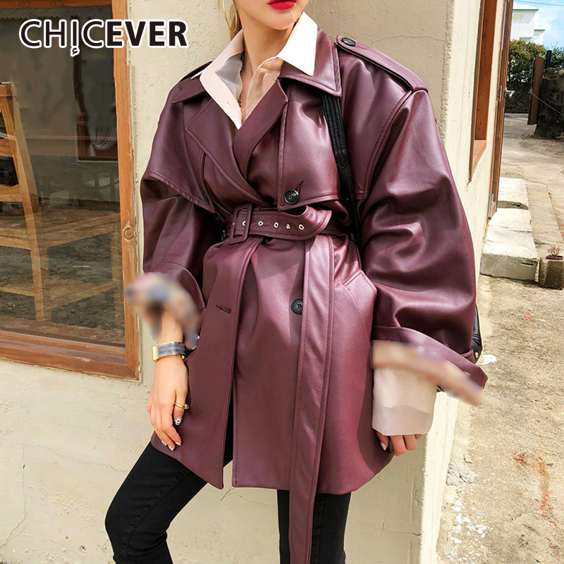 CHICEVER 2018 Autumn PU   Leather   Jacket For Women Lapel Long Sleeve High Wait Lace Up Female Jackets Fashion Streetwear Tide