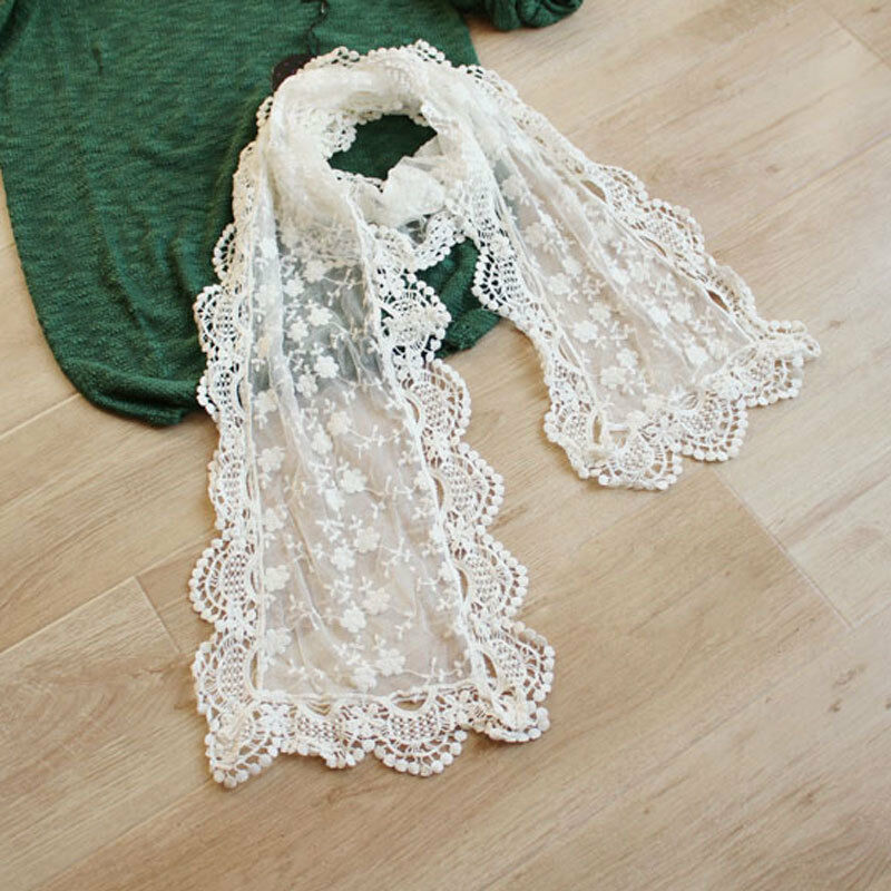 New Stylish Women Long Scarf Embroidery Floral Crochet Mesh Lace Trim Shawl EQ