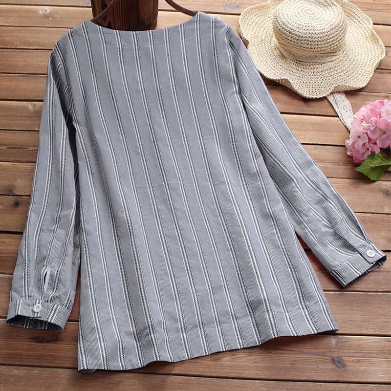 Women Blouse 2018 Ladies Autumn Long Sleeve Striped Shirts Casual Side Buttons Irregular Blouse V Neck Blusas Work Top Plus Size 5
