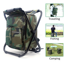 ABGZ-Portable Camping Folding Backpack Chair Double Oxford Cloth Refrigerated Bag Camouflage Fishing Outdoor Picnic