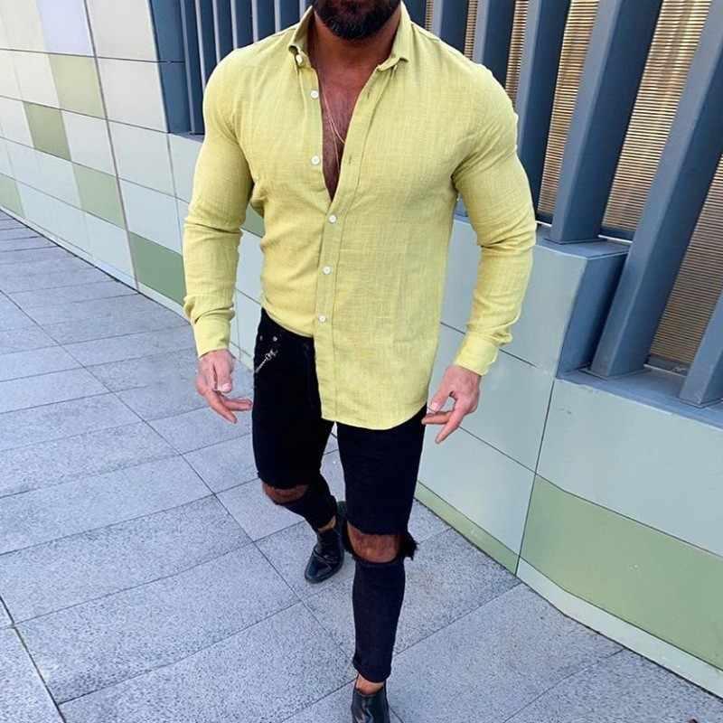 2019 新メンズスリムフィットリネンシャツ男性セクシーな V ネックコットンリネンシャツ無地長袖亜麻シャツ M-3XL