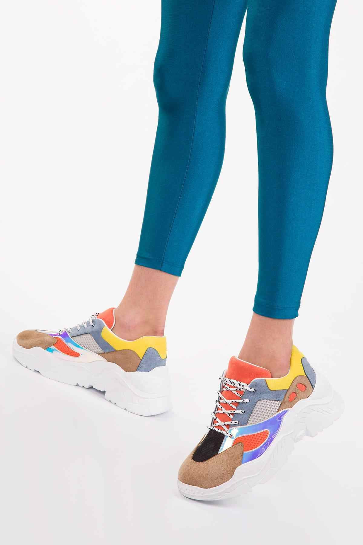 Soho Mixed Color Patchwork Design Women Casual Lace-up Sneaker White Platform Chunky Sports Shoes12927