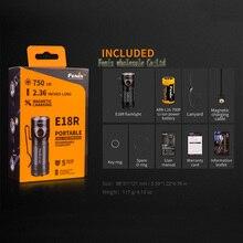 Fenix E18R  Cree XP L HI LED  750 lumens 16340/CR123A magnetic charging   EDC flashlight   with 16340 battery torch