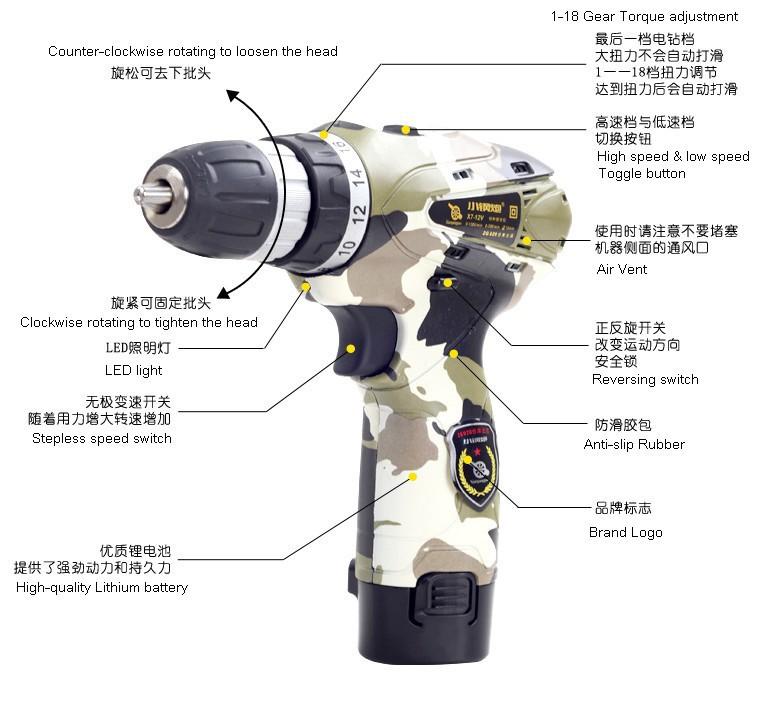 мощный инструмент : новинка камуфляж специального назначения электрический дрель 12 в