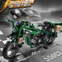550PCS Motorcycle Model Building Blocks set with Motor Battery Box Bricks Compatible for Legoes LEPIN Technic blocks Toys Gift