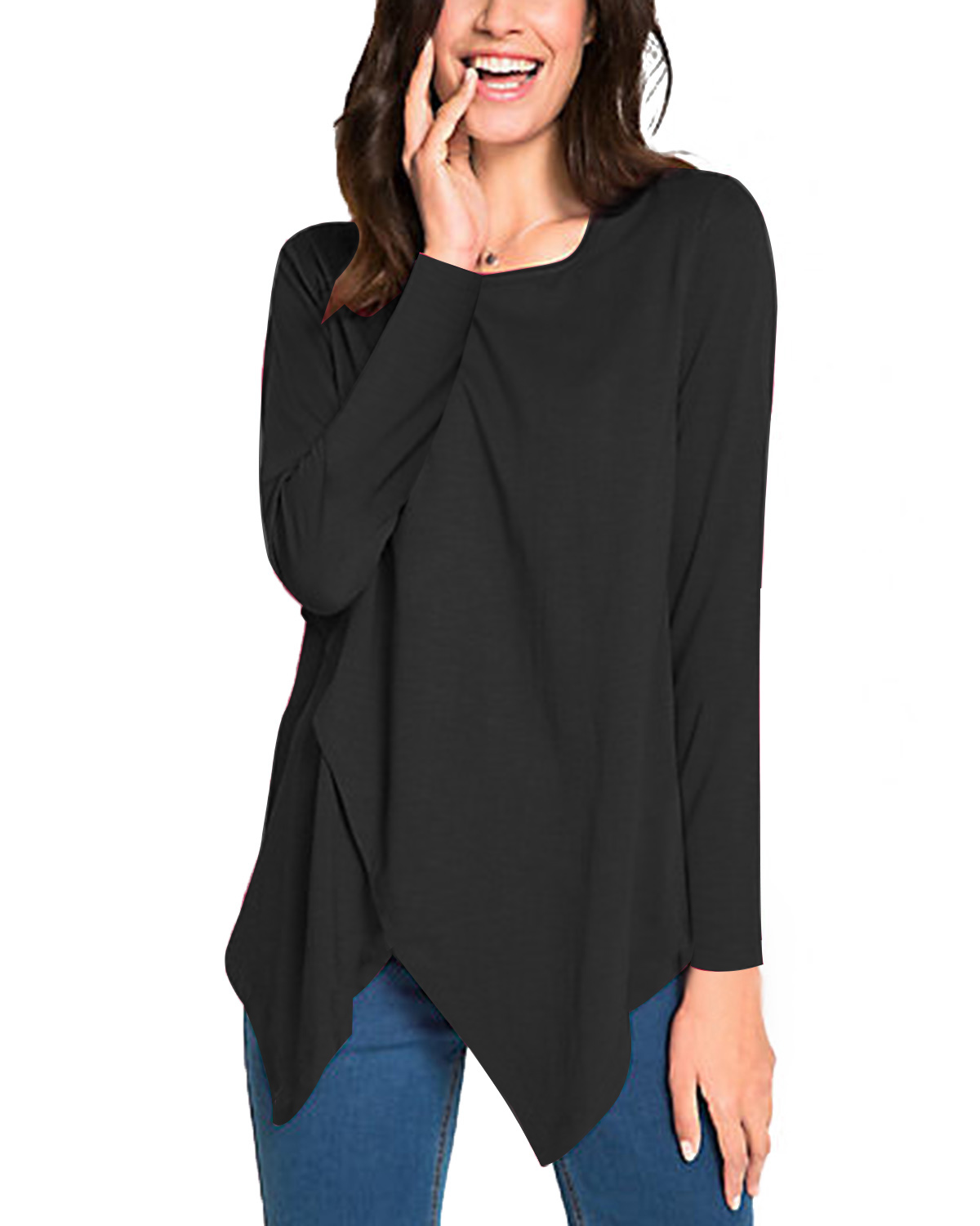 2019 Spring Autumn Women Pullover T-Shirts ZANZEA Casual Loose Round Neck Long Sleeve Solid Color Irregular Tops Tees Plus Size