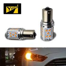 Canbus livre de erros 35-smd bau15s 7507 py21w lâmpadas led para luzes de sinal de volta alta potência âmbar amarelo