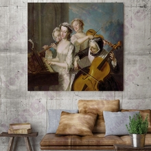 European Classical Mural Music Party Landscape Picture for Dining Room Home Wall Decoration Beauty Woman Portrait Art Print