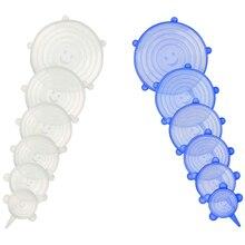 12 шт Силиконовые эластичные крышки различных размеров для хранения продуктов, крышки для хранения, обертывания для мисок, посуды, банок, чашек, кружек и контейнеров