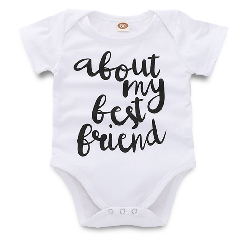Baby Rompers Cotton about My Best Friend Letter Print Baby Girl Rompers New Born Baby Clothes image