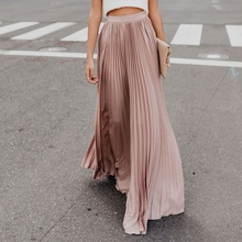 Todas las estaciones de la moda de las mujeres Vintage alta cintura  elástico de la cintura falda de Color sólido Casual fiesta f. 68db610b9fdb