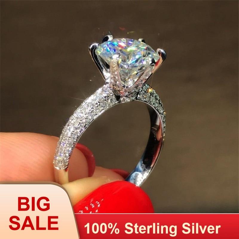 Clássico de Seis garra 100% Soild 925 Esterlina anel de prata sona 1ct AAAAA Zircon Cz anéis de Noivado casamento da faixa para as mulheres jóias