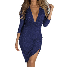384baa15 Women Dress Cocktail Long Sleeve Golden Sequins Bodycon Deep V-neck Party  Gown(China