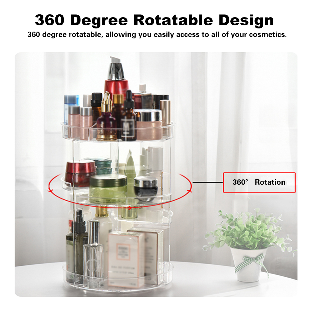 Image 4 - NEW Multi Functional Cosmetic Storage Box Display Holder Acrylic Makeup Case Organizer 360 Degree Rotation DIY Adjustable Height-in Eye Shadow Applicator from Beauty & Health