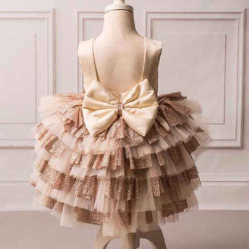5069d12360 2019 New Princess Girl Gold Sequin Bowknot Dress Baby Girl Party Tutu Dress  Sequin Wedding Party