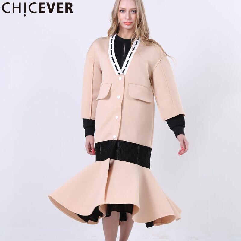 CHICEVER Ruffles Mermaid Mesh Hollow   Trench   Coat Women Autumn Winter Long Sleeve Women's Windbreaker Black Overcoat Clothes
