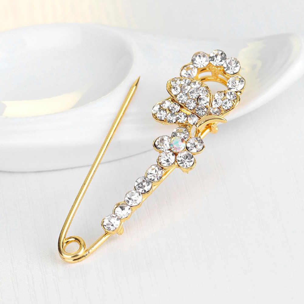 Berlian Imitasi Pin Bros Busur Besar Pin Bros untuk Wanita Gaun Emas Plating Kristal Elegan Brooche Perhiasan Aksesoris Hadiah