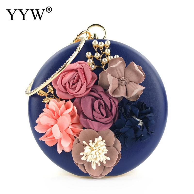 Women'S Flower Clutches Round Blue Evening Bags Handbags Wedding Clutch Purse Red Bolsos Mujer De Marca Famosa 2019 Hand Bags