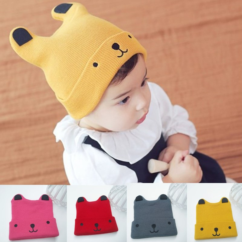 2018 New Arrive Fashion Children Hat For Girls Winter Baby Hat For Boys Hats Warm Knitted Baby Cap For Girls Cap High Safety