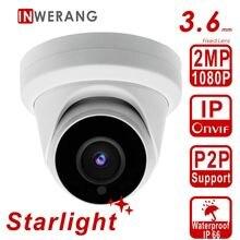 Inwerang 2MP Starlight зондирования безопасности Поворотная IP-камера мм, 3,6 мм объектив с фиксированной открытый водостойкий IP66, H.265 1080P HD CCTV Камера