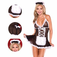 Sexy costumes women Maid Uniform lingerie Cosplay Lingerie Hot Lace Perspective Babydoll Chemise Erotic For Women