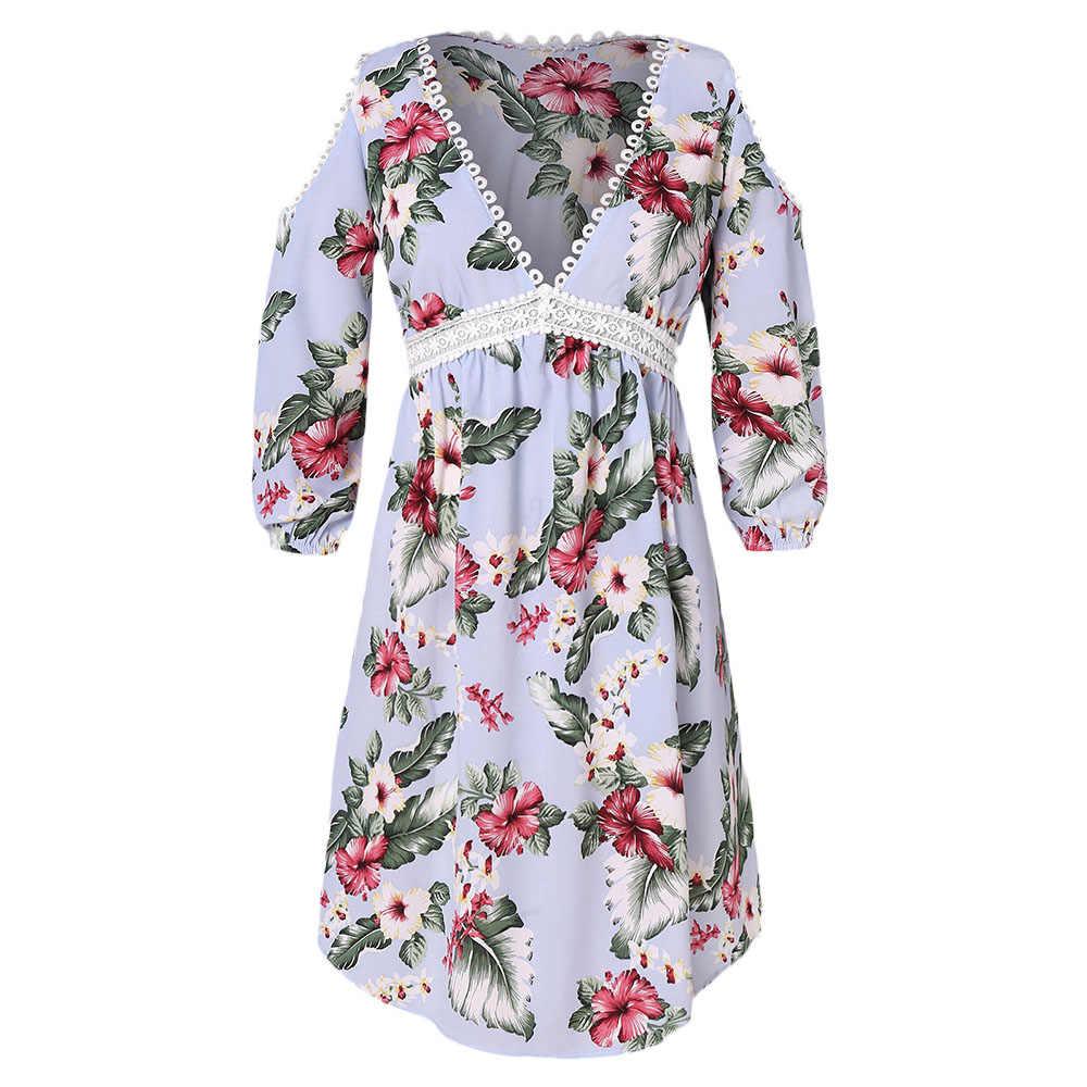 Большой размер кружева с цветочным принтом платье миди свободного покроя
