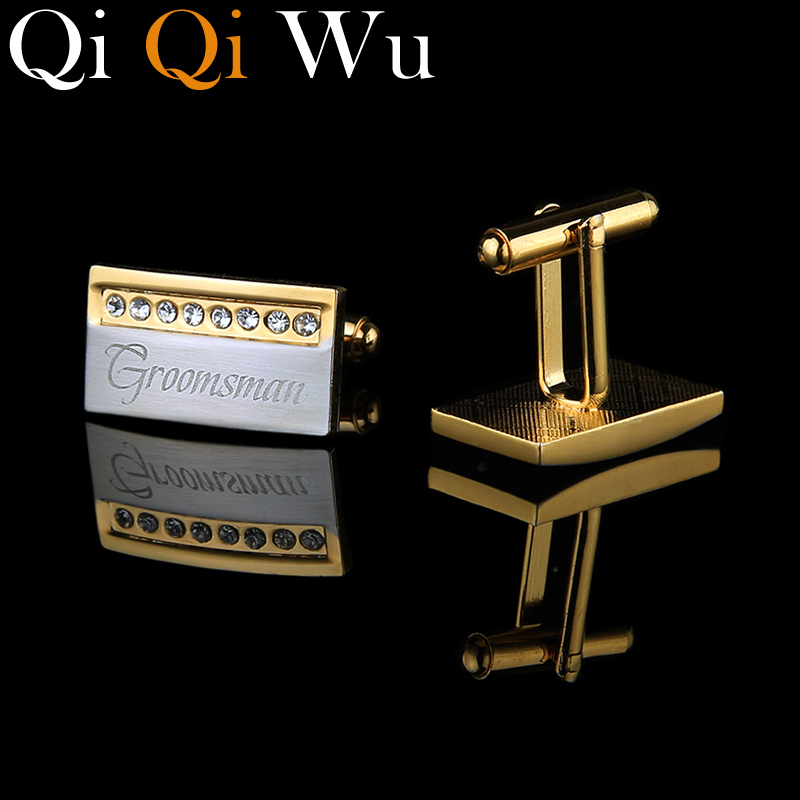 QiQiWu Gold Personalized Cufflinks Wedding Gifts For Men Guests Engraved French Cuff Buttons Golden Man French Cuff Links Shirt