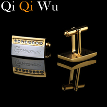 New 18K Gold Plated Personalized Cufflinks Wedding Gifts for Men Guests Engraved French Cuff Buttons Man links Shirt