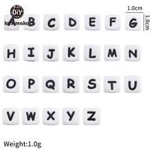 Lassen sie Machen Silikon Alphabet Brief Perlen 10mm 50pc BPA Fress Silikon Beißring DIY Zahnen Halskette Perlen Pflege anhänger