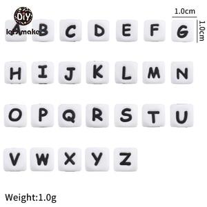 Image 1 - Lassen sie Machen Silikon Alphabet Brief Perlen 10mm 50pc BPA Fress Silikon Beißring DIY Zahnen Halskette Perlen Pflege anhänger