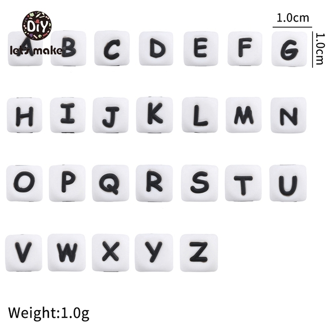 Yapalım silikon alfabe mektubu boncuk 10mm 50 adet BPA ücretsiz silikon diş kaşıyıcı DIY diş çıkarma kolye boncuk hemşirelik kolye
