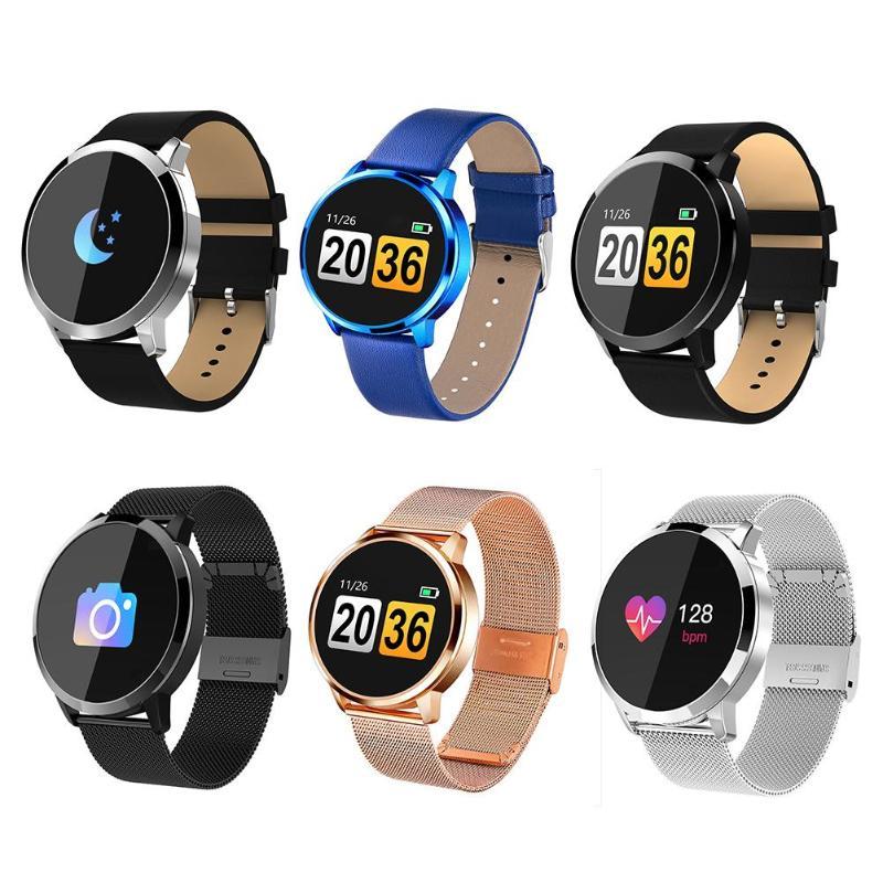 Q8 1.0 pouces montre intelligente OLED couleur écran tension artérielle fréquence cardiaque hommes femmes montre-bracelet pour Android iOS