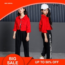 цена на Teenage Girls Clothing Set 2018 Cotton Red Crop Jacket Top Pant Three Pieces Sets For Kids 8 9 10 11 12 13 14  Years Old