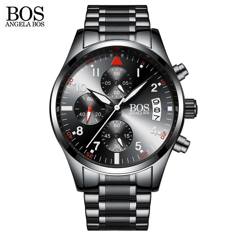 ANGELA BOS Chronograph Timer Mode horloge Heren Quartz-horloge - Herenhorloges