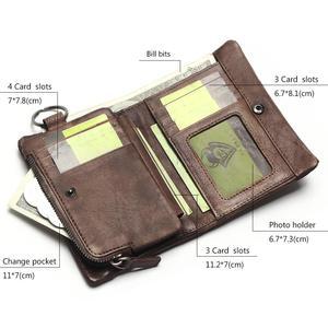 Image 3 - TAUREN 새로운 짧은 지갑 여성용 동전 지갑 남성용 동전 지갑 정품 가죽 레이디 지퍼 디자인 동전 지갑 포켓 짧은 Walet