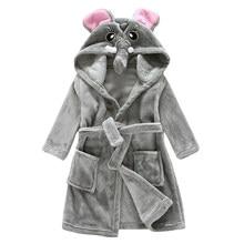 b6170a0eea5e8 Enfants peignoir à capuche unisexe pour 1-13 ans éléphant vêtement de nuit  en polaire garçons filles confortable transat chemise.