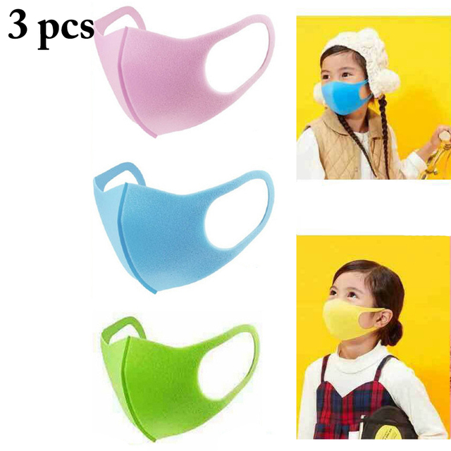 3PCS Kids Mouth Mask PM2.5 Dustproof Washable Mouth Cover Mask Face Mouth Mask