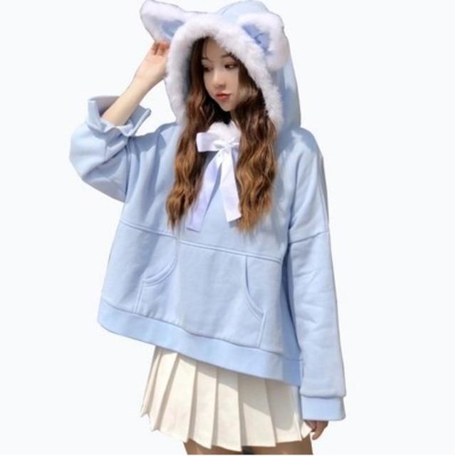 Cute Japanese Women s Faux Fur Cat Ears Fluffy Hoodies Winter Plus Velvet  Lolita Sweatshirt Sweet Girl Neko Bowknot Neck Outwear cf48160766