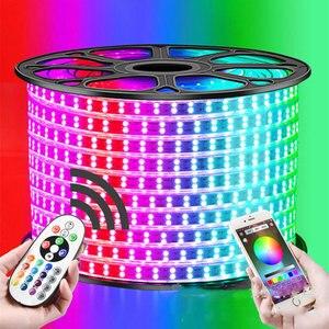 Image 1 - 31 50M dwurzędowe listwy RGB LED 96 leds/m 5050 220V zmienia kolor taśma oświetlająca IP67 wodoodporny sznur oświetleniowy LED + sterowanie Bluetooth na podczerwień