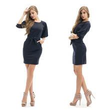 Элегантное женское офисное черное платье официальное Деловое