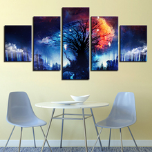 Canvas Pictures Home Decor 5 Pieces Magic Tree Surrounded By Clouds Painting HD Prints Starry Forest Fairy Poster Wall Art Frame magic forest style 13 pieces stair sticker wall decor