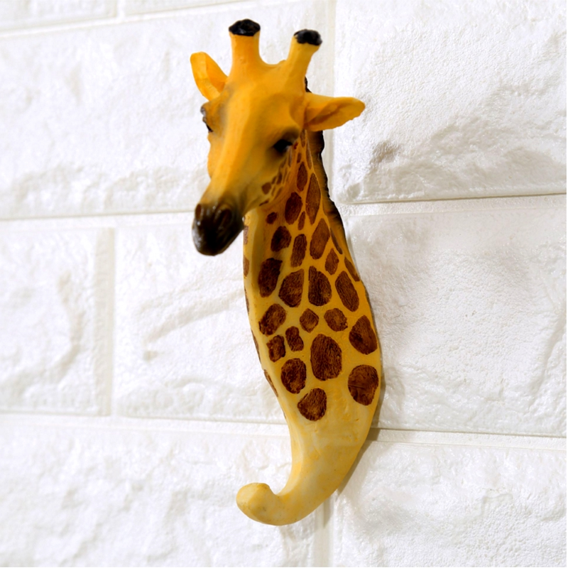 home cafe resin wall hook kids room decoration home decoration accessories statue sculpture on the wall animal shape hoo in Statues Sculptures from Home Garden